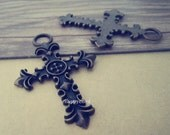 4pcs Antique bronze cross Pendant charm connector 40mmx61mm