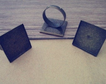 10pcs Adjustable antique bronze Square Ring Blanks 20mm