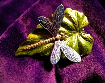 Hand Painted  Dragonfly Brooch.Opalescent  Blue Lavender Blend.