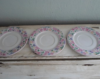 Vitromaster Dinner Ware Floral Bali Saucers - Set of 3 Hard to Find