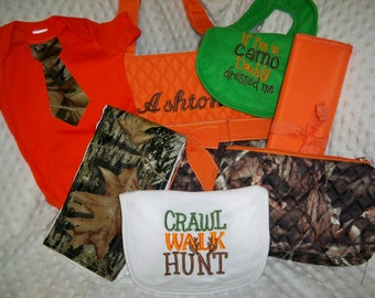 PERSONALIZED 7 Piece Diaper Bag Set with Name - Baby Boy Orange Camo Personalized Diaper Bag, Pouch, Changing Pad, Bodysuit, Burp Cloth, Bib