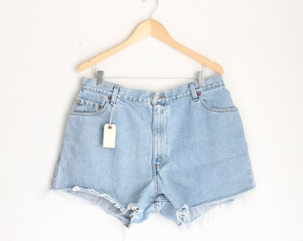 "Waist: 36""  Vintage Denim High Waisted Levi Shorts"