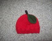 Photo Prop,Gift,Girls,Babies,Hand Knit,Apple,Bright Red,Newborn to Three Months,Hat,Infants