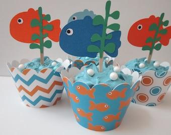 Gold Fish  ~Cake ~ Cupcake Toppers ~ Set of 12 ~ Blue & Orange
