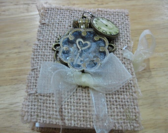 SALE - Coptic Stitch Journal in Burlap and Ribbon, Steampunk, Bohemian Style