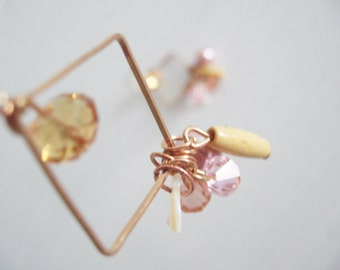 Geometric long earrings- dusty pink  and golden beads- shabby chic look