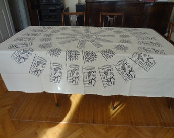 Handblocked SQUARE tablecloth - OOAK - Cream