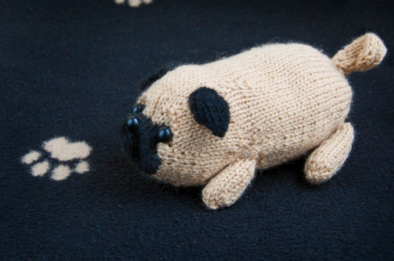Knitted Pug Pattern : PDF Pattern - Jolly The Pug Toy Dog Amigurumi DK Knitting from sincerelylouis...