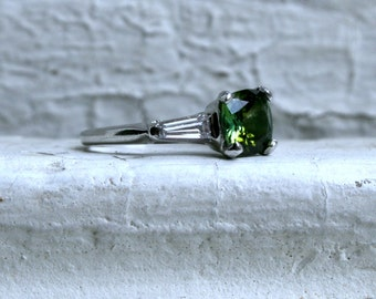 Classic Vintage Platinum Tourmaline Engagement Ring with Baguette Diamonds - 1.30ct.