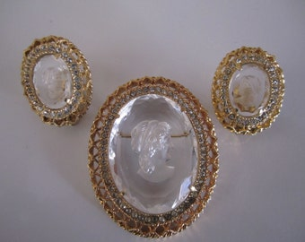 Clear Cameo Brooch and Earring Set