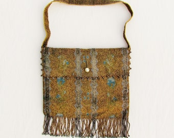 Vintage micro beaded evening bag made in France, 1920's formal purse with cut steel and smooth metal beads