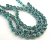 ON SALE - 18 Turquoise Ladybug Czech Glass Beads 9x7mm