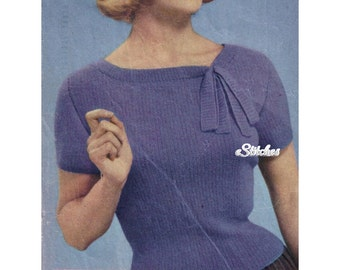 1950s Fitted Sweater Blouse with Neck Tie - Knit pattern PDF 0559