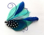 SIDNEY Dark Turquoise, Blue, Mint, Royal Blue, Purple and Polka Dot Peacock Feather Hair Clip, Feather Fascinator