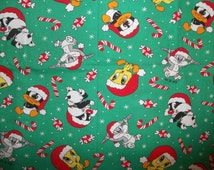 RARE 1995 Vintage Chrismas Looney Tunes Baby Bugs Bunny Baby Tweety Baby Sylvester Baby Daffy Cotton Christmas Fabric