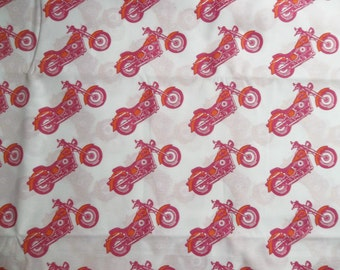 """Lets Go Riding Pink Motorcycles Harley Girls Motorycles Cotton Fabric By The Half Yard 64"""" wide X 18"""""""