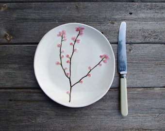Ceramic plate cherry blossom side plate pink and creamy white Sakura, MADE TO ORDER