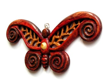 Butterfly hand carved wooden pendant with natural baltic amber unique jewelry