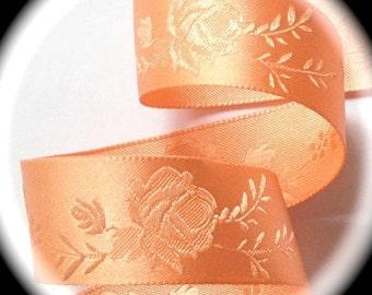 "Satin Ribbon  1"" wide  x 5 yards Peach Floral"