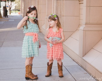 Ready to Ship SALE Sizes 2T or 5 Mint Flower Girls Dress with Peach Sash, Wide Straps/Cap Sleeves, 2 Inch Ruffles