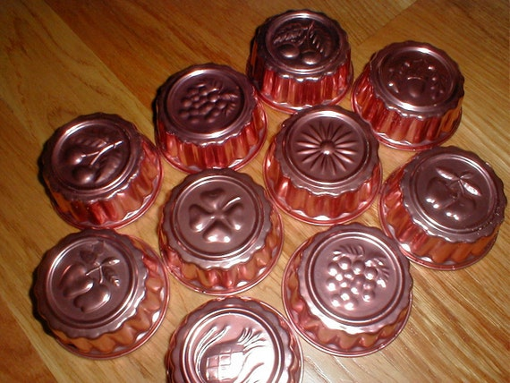 10 Vintage Individual Aluminum Copper Jello Tart Custard Fruit Mold Tins