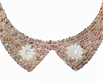 Beaded Peter Pan Collar Applique for Sewing Crafts
