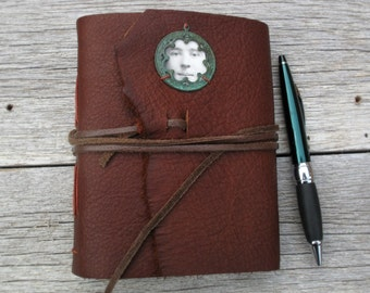 Medium leather journal. OOAK -- One of a Kind