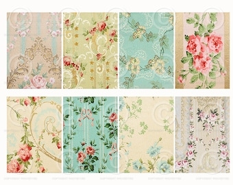 Shabby Wallpaper ATC backgrounds Collage Sheet Printable Download Digital File Instantly