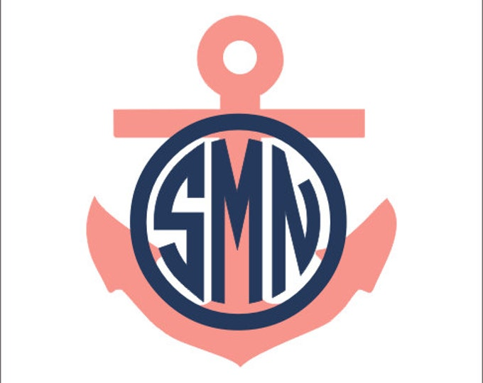 Anchor Monogram Car Decal Vinyl Decal Circle Monogram Decal Car Decal Preppy Nautical Decal Personalized Anchor Southern Custom
