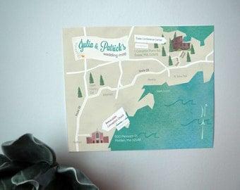 Custom Illustrated Wedding Map: Printable