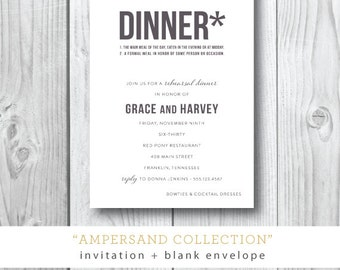 Ampersand Printed Dinner Invitations | Rehearsal Dinner or Dinner Party Invitation | Printed or Printable by Darby Cards