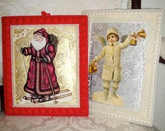 Vintage Christmas Card Crocheted Framed Wall Art Set