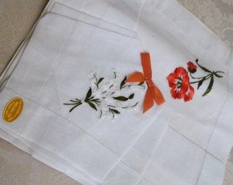 Set of 2 Vintage Cotton Embroidered Flower Handkerchief Hankie - Made in Switzerland