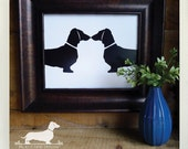 Doxie Love. 8x10 Art Print -- (Dog, Dachshund, Vintage-Style, Weiner Dog, Love Gift, Home Decor, Wall Art, Silhouette, Modern, Cute, Simple)
