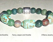 """Men's Bracelet Buddha, Howlite, Fancy Jasper and Silver Plated Copper """"Enlightened"""" By ANena Jewelry Ships same business day world- wide"""