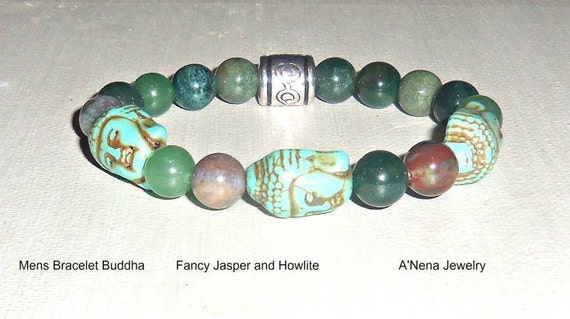 "Men's Bracelet Buddha, Howlite, Fancy Jasper and Silver Plated Copper ""Enlightened"" By ANena Jewelry Ships same business day world- wide"