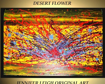 Original Large Abstract Painting Modern Contemporary Canvas Art Yellow Blue Purple DESERT FLOWER 36x24 Palette Knife Texture Oil J.LEIGH