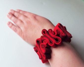 Felt Cuff Bracelet, Boho, Eco Jewelry, Recycled, Free Form, Red Bracelet, Felted Jewelry,