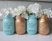 Painted and Distressed Ball Mason Jars- Gold Metalic and Light Turquoise/Aqua Teal-Set of 4-Flower Vases, Rustic Wedding, Centerpieces