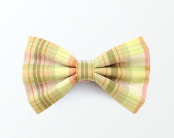 Bow Tie for Men, Men's Pink and Lime Green Multi Plaid Pre Tied Bow Tie for Wedding and Gift /READY TO SHIP