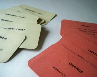 Vintage Monopoly Chance and community chest cards steampunk supplies