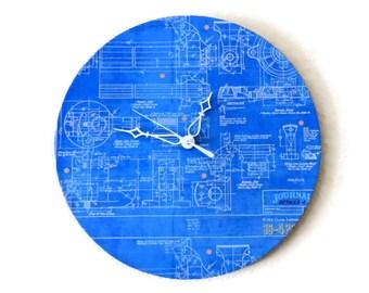 Unique Wall Clock,  Home and Living,  Decor & Housewares, Blue Clock, Home Decor, Office Clock, Blueprint, Office  Decor, Unique Gift