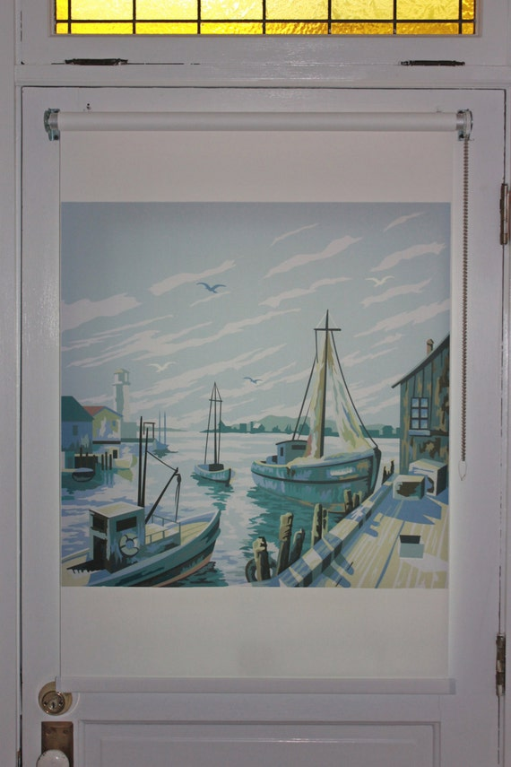"""Paint by Number Harbor Scene Graphic Window Shade 18''- 24"""" width"""