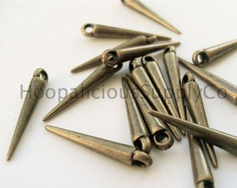 "25pc- 22mm Small ""OLD BRASS"" Spikes w/ Top Loop. Fast Shipping from w/ Tracking for US Orders."