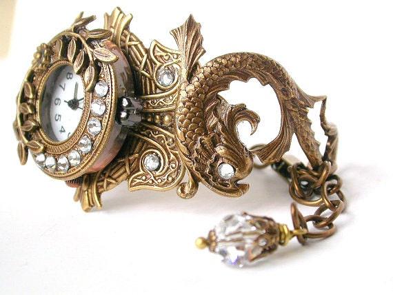 Women's Wrist Watch Brass or Silver - Mythical  Koi Fish Bracelet Watch with Swarovski Crystals - Gothic Jewelry