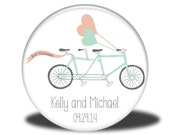 PERSONALIZED Wedding Favor - Mirror, Magnet, Bottle Opener or Pin - Bike with Hearts and Banner