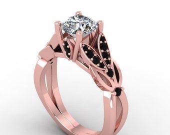 moissanite rose gold Black diamond engagement  ring, moissanite wedding  ring, style 27RGBLM