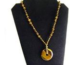 OOAK Tigers Eye Donut Pendant Necklace, Solar Plexus Chakra Necklace