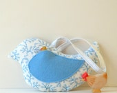 Tooth Fairy Pillow, Bird Pillow, Handprinted Linen and Pure Wool Stuffing, Cornflower Blue and White, Children's Pillow