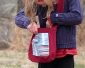 Kid's Toy Bag, Washable Messenger Bag, Durable Nature Walk Bag in Red, White, and Blue Fabric